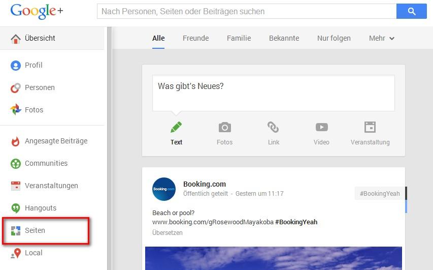 """im G+ Profil Menü """"Seiten"""" wählen"""
