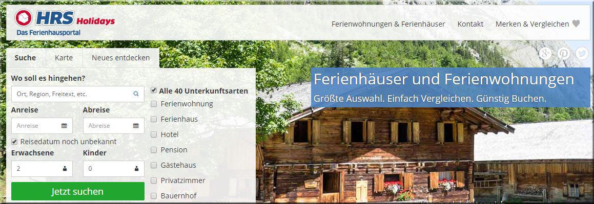 HRS Holidays - das neue Ferienhausportal der HRS Gruppe