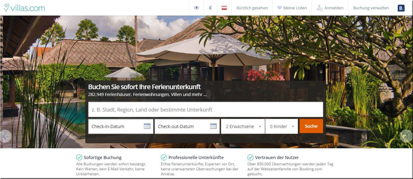Villas.com = Booking.com für Ferienhäuser und Appartements