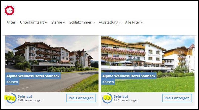 Ein Hotel - zwei verschiedene Bewertungsnoten