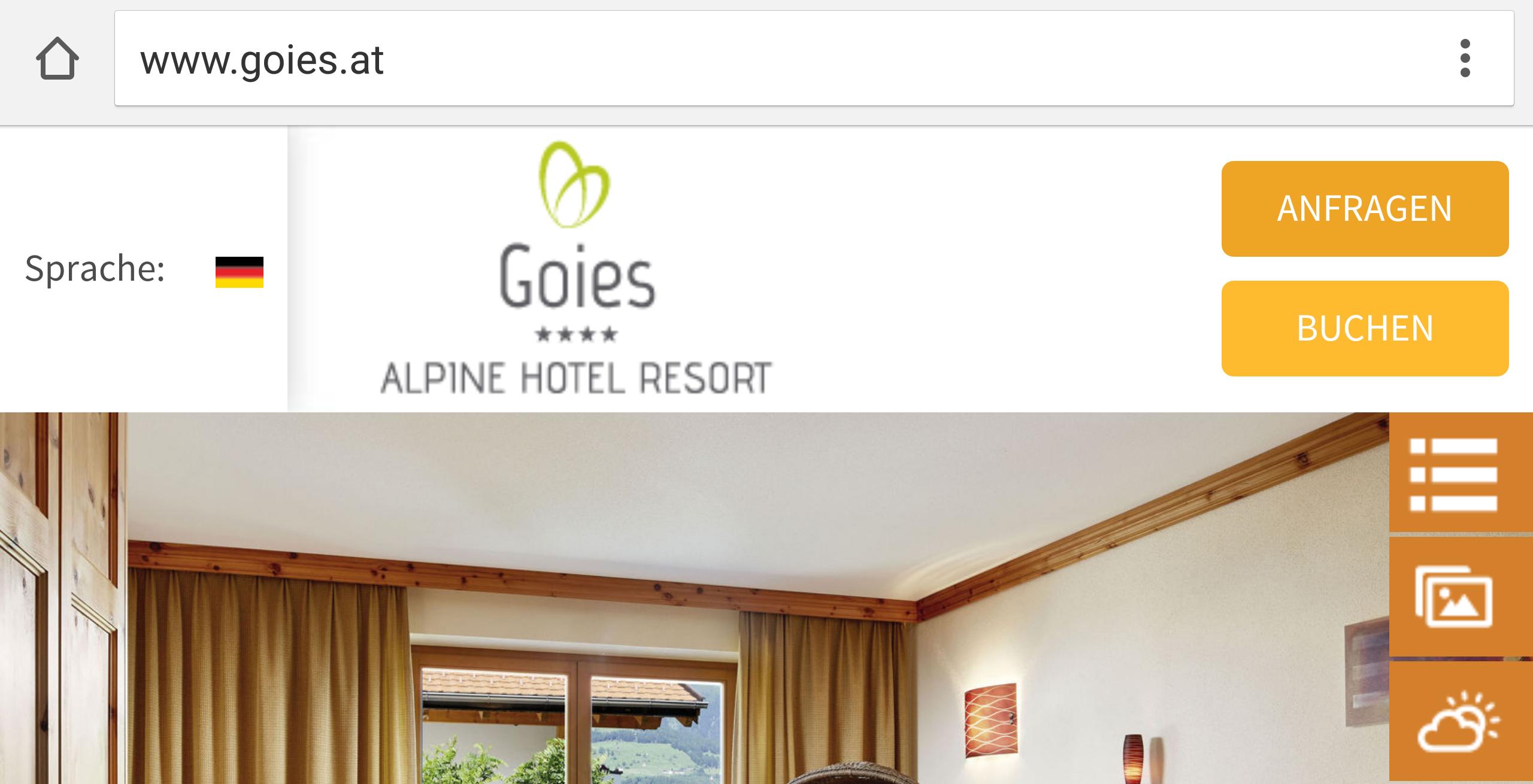 Hotel Gois: Anfrage-Buttons am oberen Bildrand - selbst bei kleinem Smartphone-Bildschirm