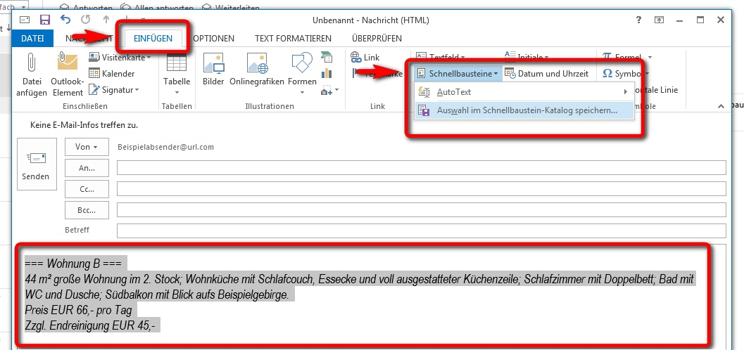 Ansicht Schnellbaustein in Outlook/Office 10