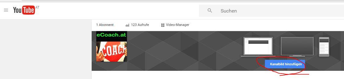Ausgangslage: Der YouTube Kanal mit Profilbild aber ohne Header
