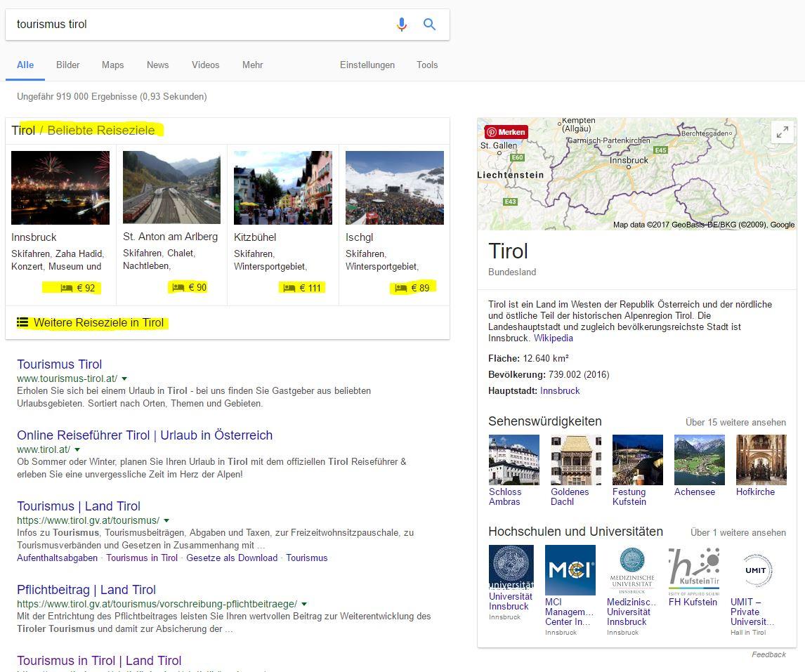 """Google-Ergebnisse mit """"Knowledge Graph"""" rechts und den neuen Google Reiseziel-Treffern auf Pos. 1"""