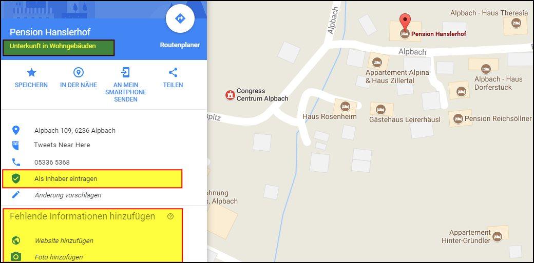 Google Maps: Treffer schlecht gewartet