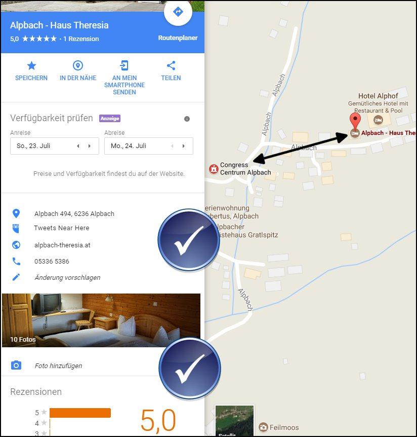 Google Maps: gut gewarteter Eintrag Haus Theresia