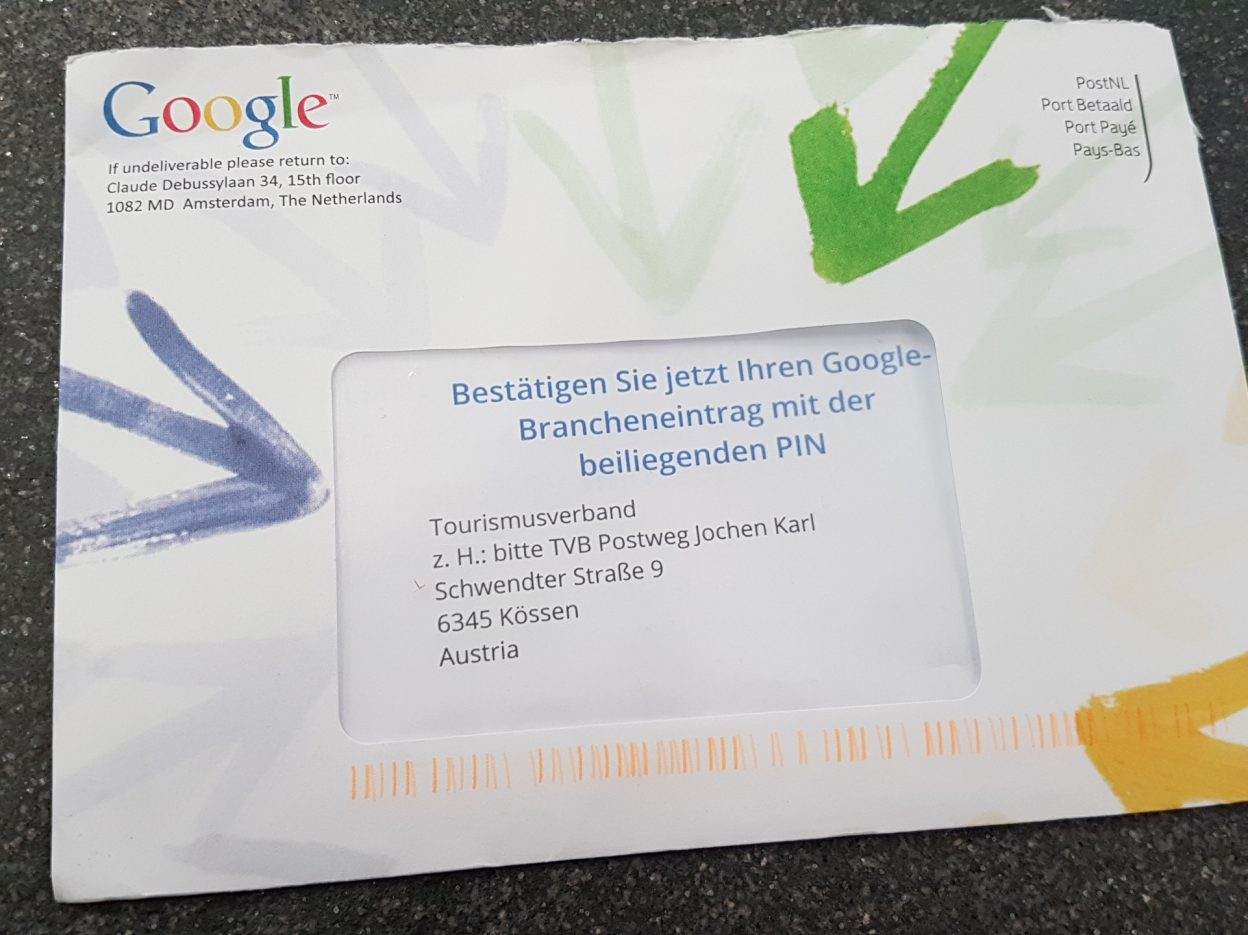 Google My Business Verifizierung per Brief