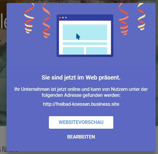 Geschafft: eine eigene Webseite in wenigen Minuten erstellt
