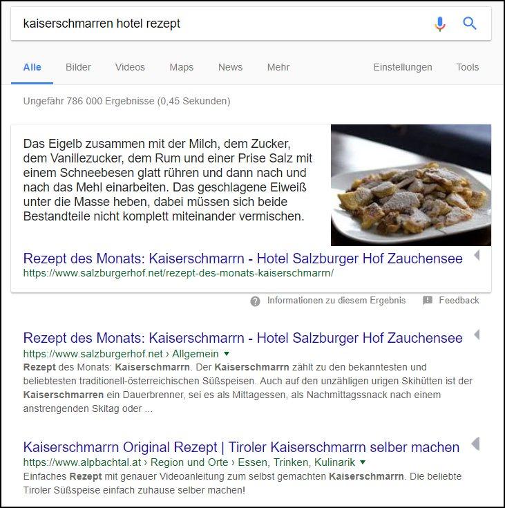 Google-Suchergebnis mit Kaiserschmarren Rezept direkt aus der Webseite des Hotels