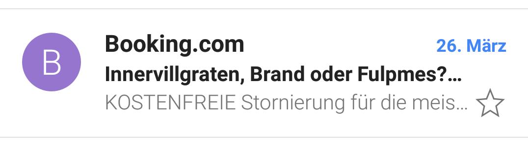 Booking.com Newsletter: Kostenfreies Storno als Verkaufsargument