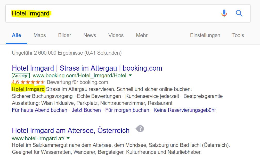 """Brand Bidding: auf das Suchwort """"Hotel Irmgard"""" kommt eine Anzeige von Booking.com mit dem Hotelnamen im Text - eigentlich nicht erlaubt"""