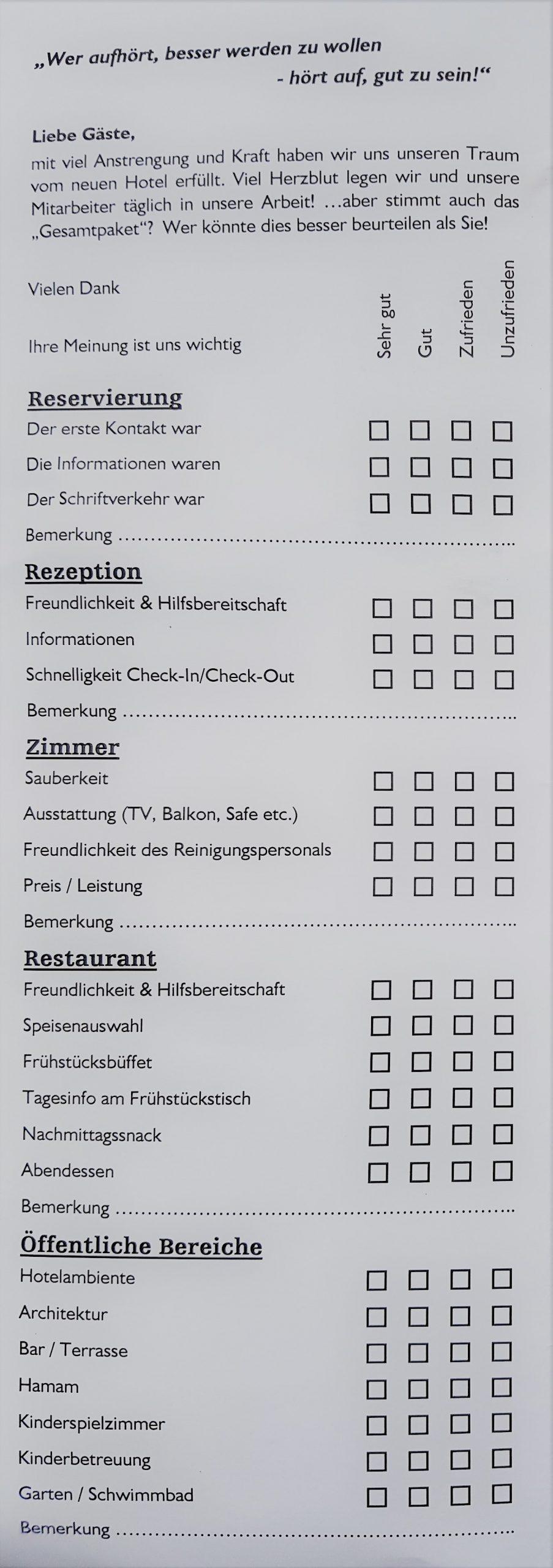 Fragebogen auf dem Hotelzimmer - als Frühwarn- und Filterinstrument