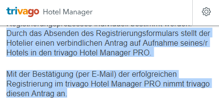Screenshot der Trivago AGB für den Hotel Manager Pro