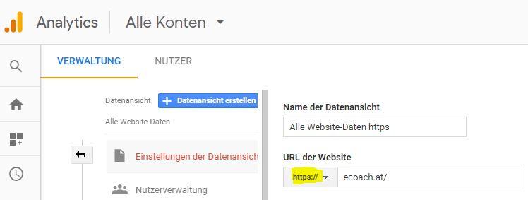 Google Analytics Verwaltung: hier URL auf HTTPS umstellen