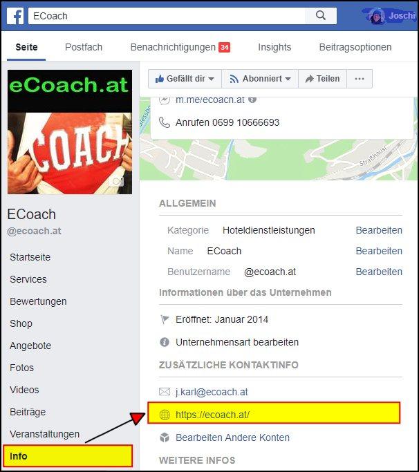 Links von Social Media ändern: Facebook Seite von eCoach.at, jetzt mit geändertem Link https://...