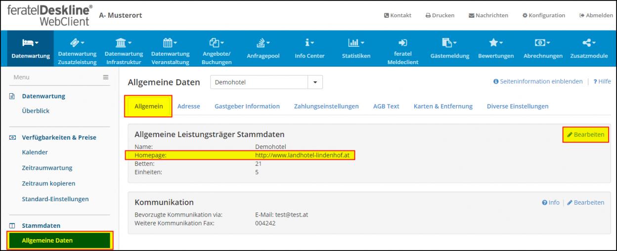 www-Adresse in feratel Deskline WebClient ändern