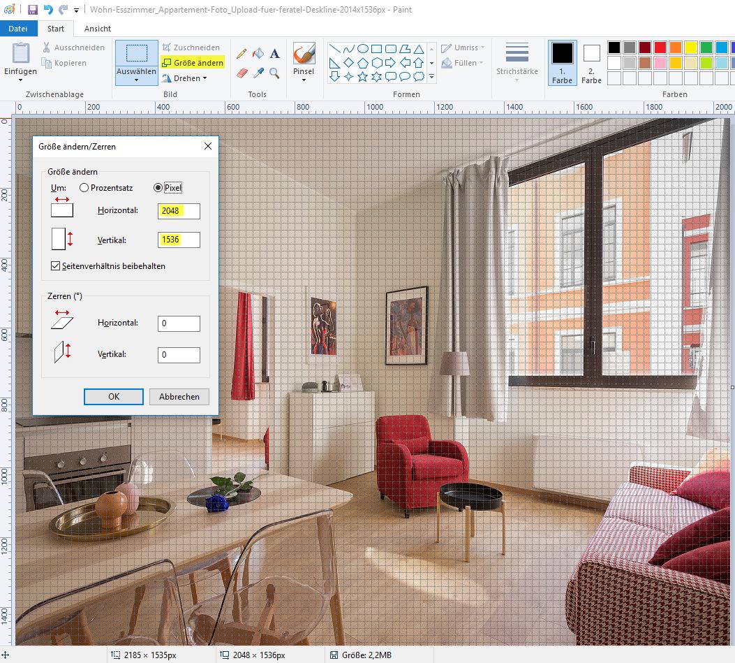 Foto in Paint pixelgenau zuschneiden oder skalieren (größer/kleiner machen)