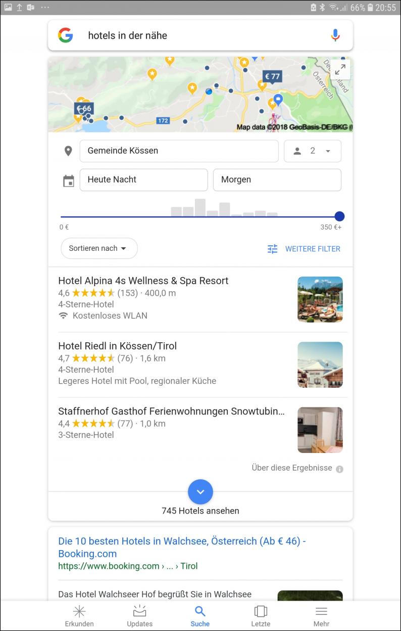 Google Suchergebnis mit Hotel Anzeigen - Darstellung auf dem Smartphone