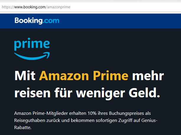 Booking.com Rabatt mit Amazon Prime (Quelle: www.booking.com)
