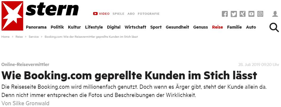stern.de (28.7.2019): Wie Booking.com geprellte Kunden im Stich lässt