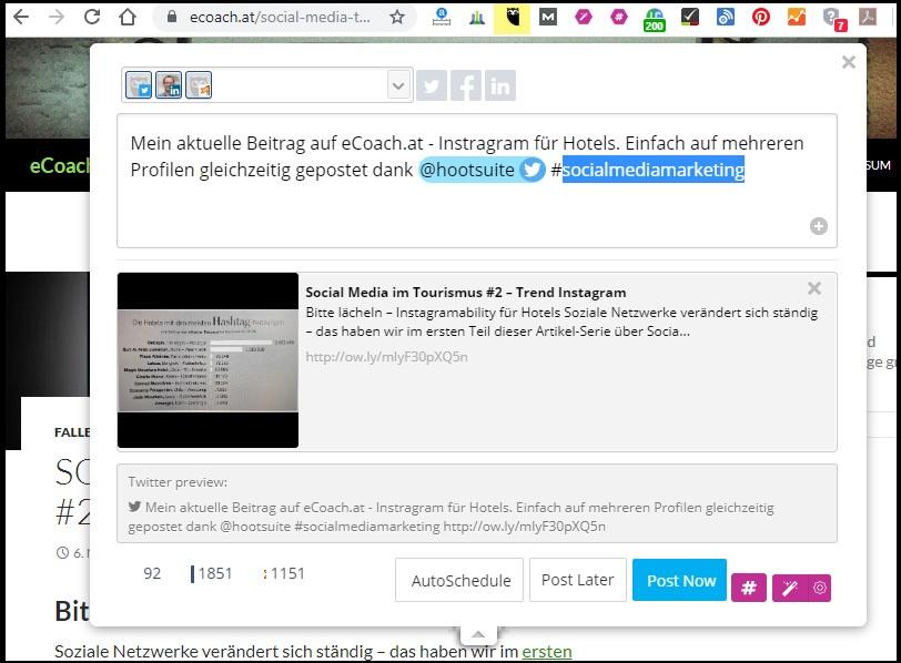Webseiten mit dem Hootsuite-Plug-in für Chrome einfach teilen