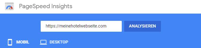 Google Geschwindigkeitstest für Webseiten