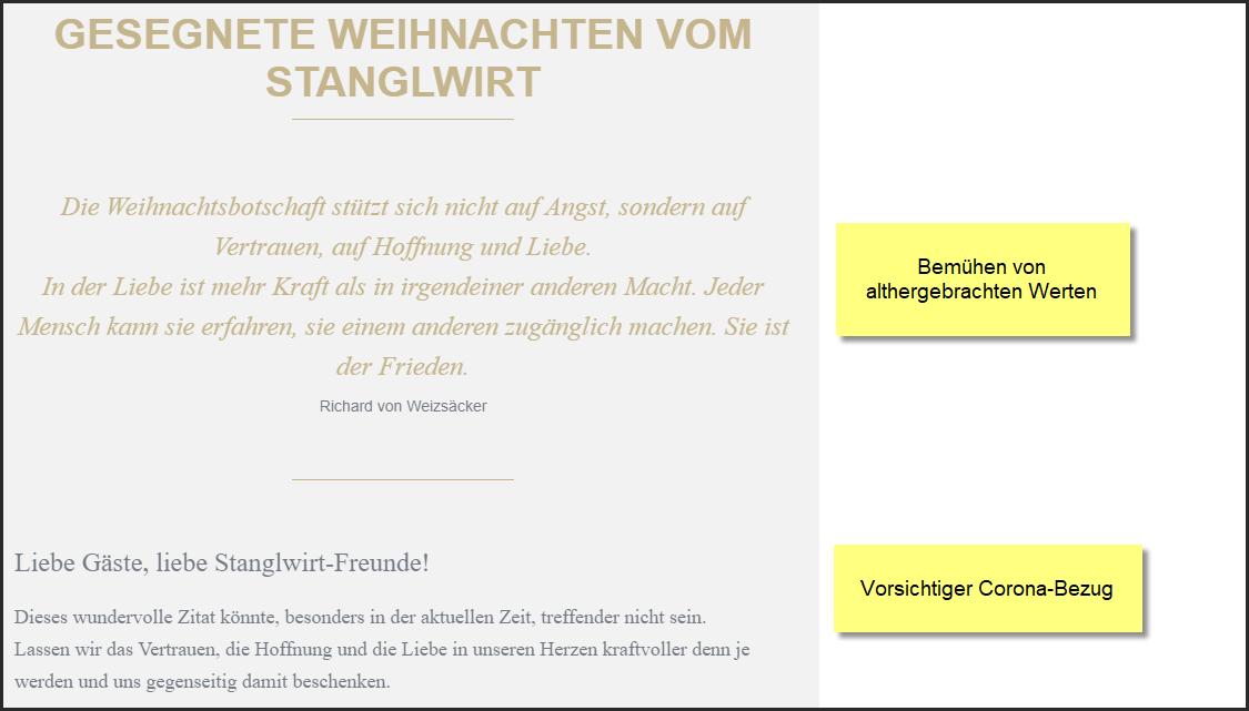 Sanglwirt, Promi- und Luxushotel in Going/Wilder Kaiser, Tirol, Weihnachtsnewsletter 24.12.2020