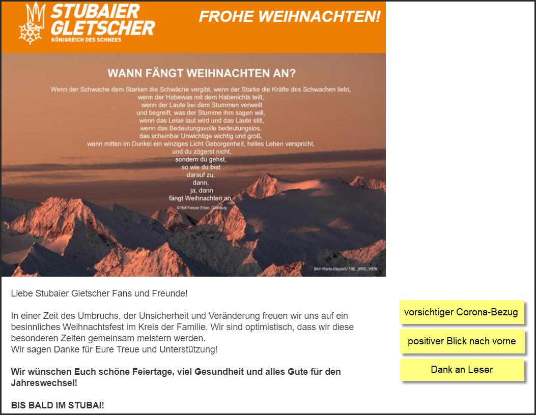 Wintersport Tirol AG & CO, Stubaier Bergbahnen KG, Tirol, Weihnachtsnewsletter, 23.12.2020