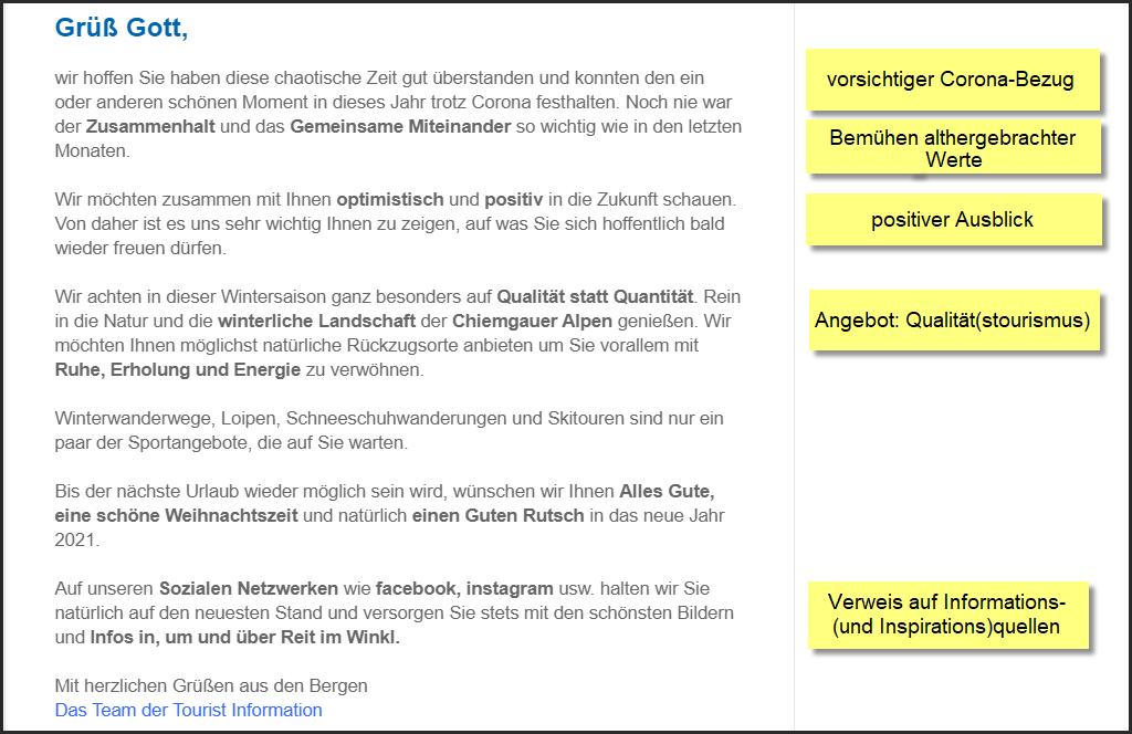 Reit im Winkl Tourist Information, Bayern, Weihnachtsnewsletter 18.12.2020