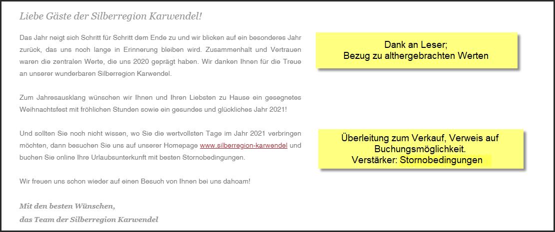 Tourismusverband Silberregion Karwendel, Tirol, Weihnachtsnewsletter 24.12.2020