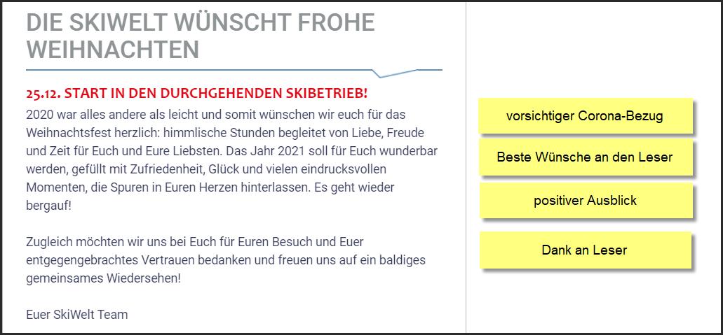 Skiwelt Wilder Kaiser-Brixental, Skigebiet in Tirol, Weihnachtsnewsletter 23.12.2020