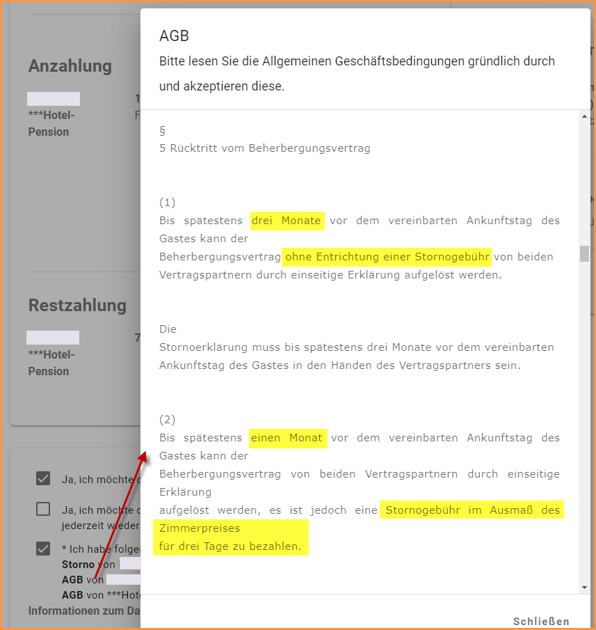 Bedingungen zu akzeptieren 2: AGB der Destination (ÖHVB)
