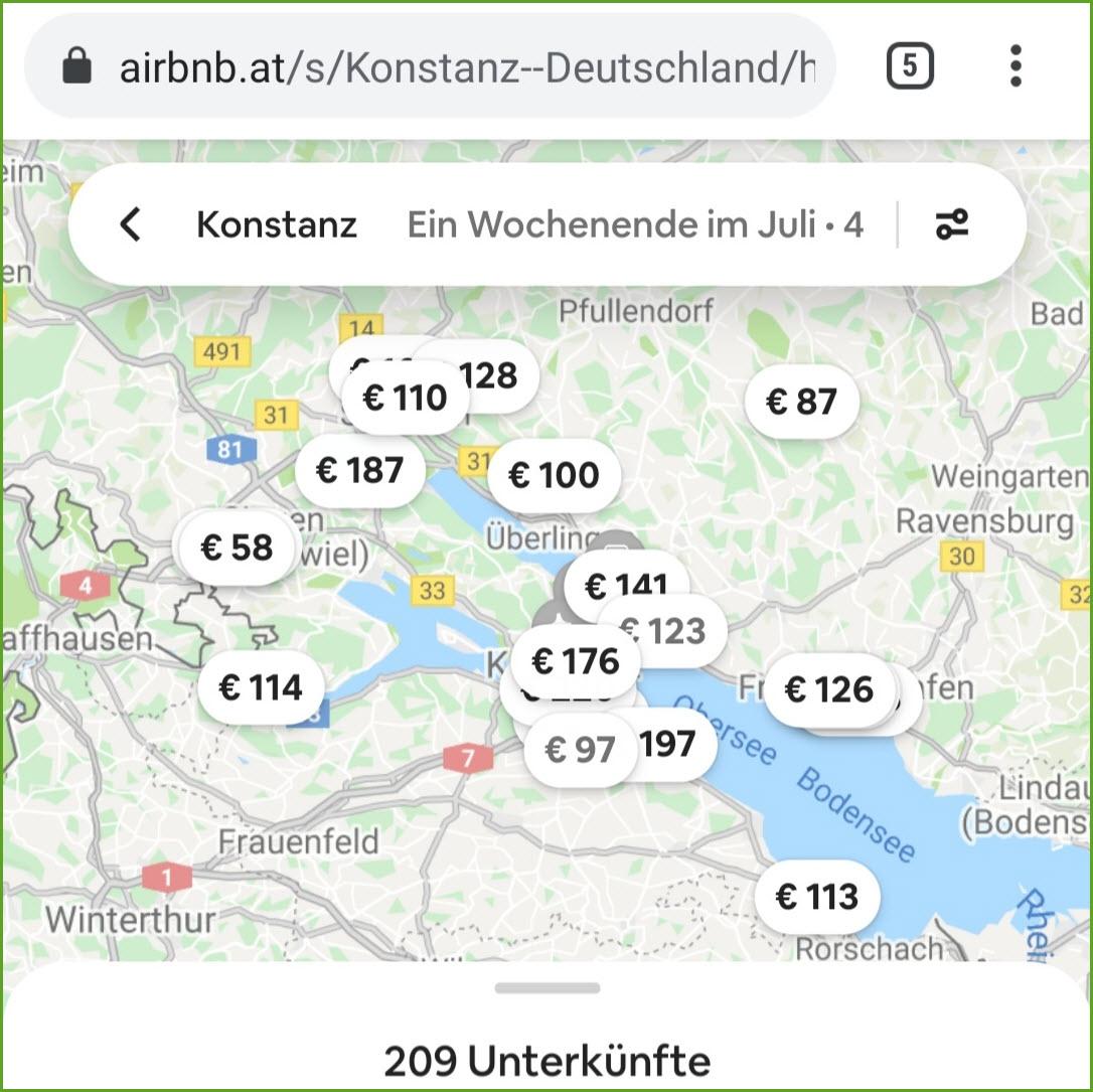 airbnb flexible Suche Wochenende