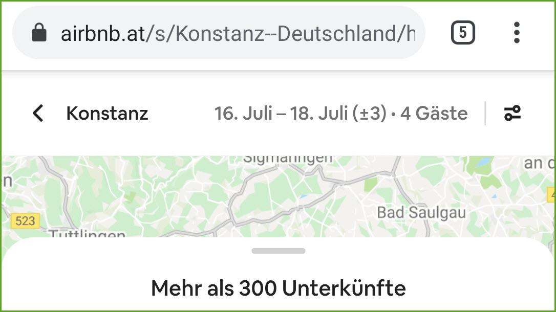 airbnb Suche plus/minus drei Tage