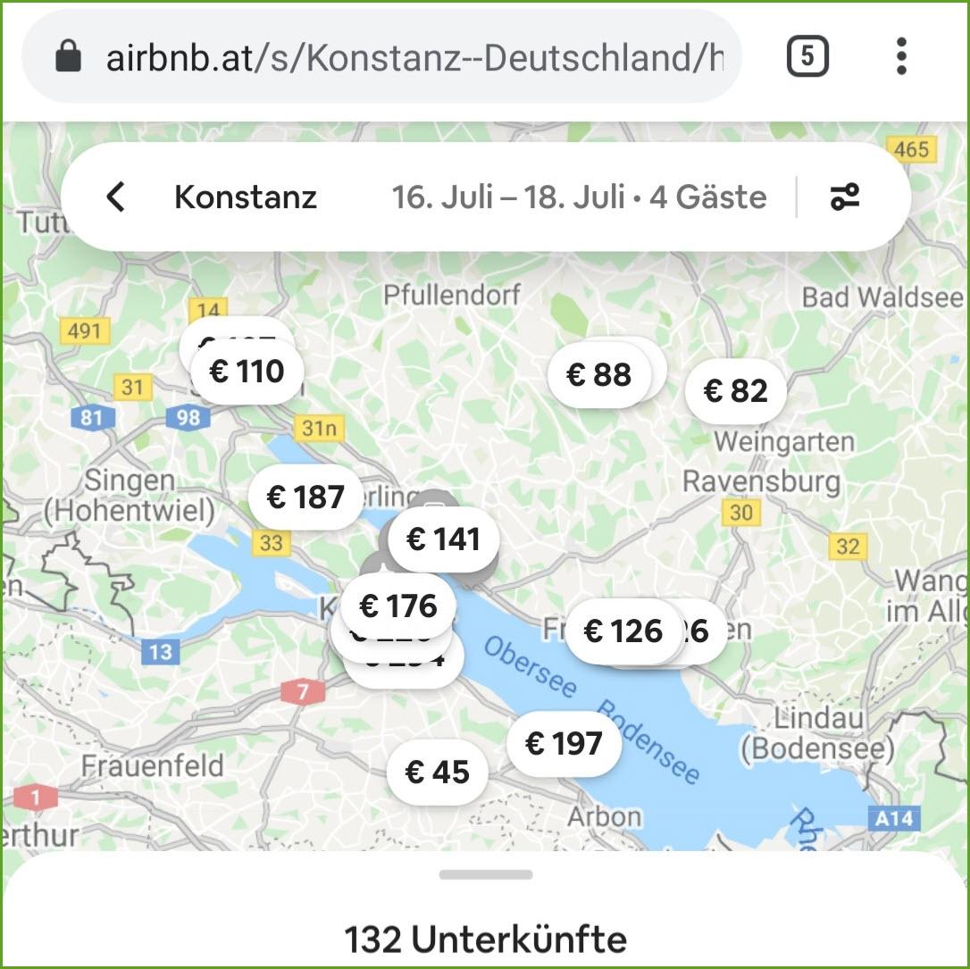 airbnb Suche mit fixem Datum