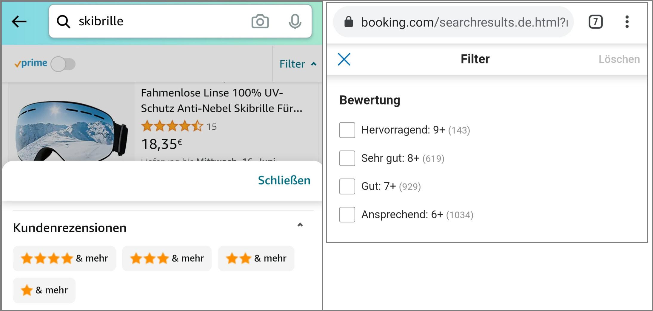 Filter nach Bewertungen auf Amazon und Booking.com